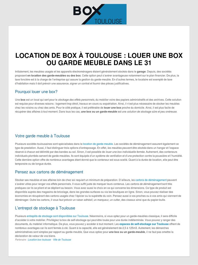 location de garde meuble et de box sur toulouse entreprise webfrance. Black Bedroom Furniture Sets. Home Design Ideas