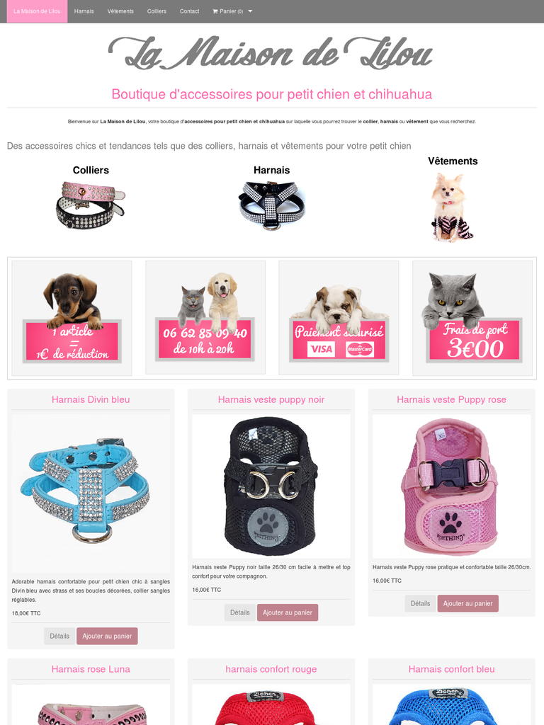 Collier pour chiot la maison de lilou boutique animaux for Sites web pour concevoir des maisons gratuitement